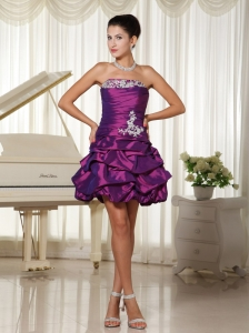 Appliques Lace-up Strapless With Ruched Bodic Homecoming Dress Eggplant Purple