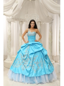 Aqua One Shoulder Embroidery Decorate Quinceanera Dress With Organza