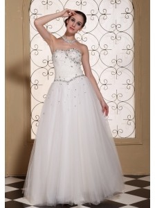 Beaded Bodice Tulle Lovely A-line Wedding Dress For 2013 Strapless and Floor-length Gown