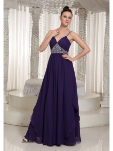 Beaded Decorate Evening Dress For Formal With Spaghetti Straps Chiffon
