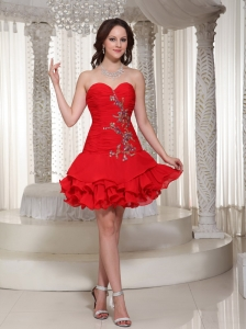 Beading Decorate Sweetheart Cute Red Short Prom  / Cocktail Dress