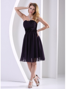 Dark Purple Chiffon Hand Made Flower and Ruch Bridesmaid Dress A-line Knee-length