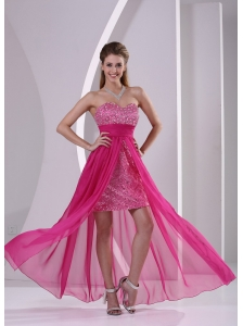High-low Paillette Over Skirt Hot Pink Prom Evening Dress With Sweetheart