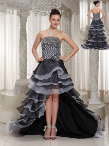 High-Low Strapless Hand Made Flowers  Beaded Black lace-up Evening Dress In 2013