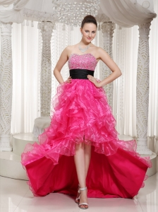Hot Pink Beaded Belt Embellishment Evening Dress With High-low