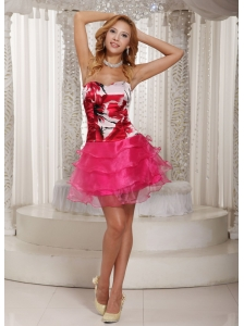 Hot Pink Cocktail Dress With Printing Decorate Bust Ruched Layeres For Summer Mini-length 2013