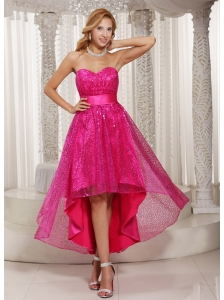 Hot Pink Paillette Over Skirt High-low Sweetheart 2013 Evening Dress