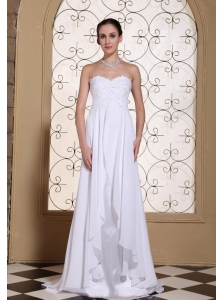 Laced Decorate Bust White Chiffon Wedding Dress For 2013 Brush Train and Lace-up