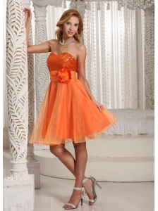 Organza Hand Made Flower Belt Beautiful Sequins Decorate Bust Homecoming Dress Orange