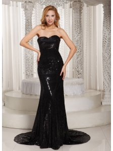 Paillette Over Skirt Sheath Sweetheart Court Train Evening Dress Black For Spring