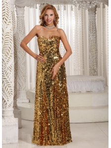 Paillette Over Skirt Sweetheart Floor-length Gold Luxurious Evening Dress Party Style