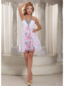 Printing and White Chiffon Beaded Decorate Halter Straps 2013 Prom Dress Cocktail Style in New Jersey