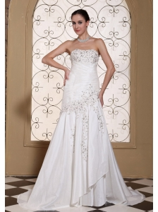 Ruched Bodice With Beading Taffeta Simple Wedding Dress For 2013 Strapless Brush Train Gown