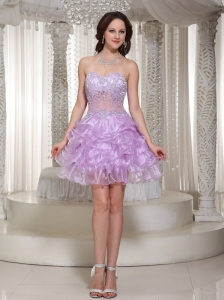 Sexy Beaded Decorate Cocktail Dress With Sweetheart Mini-length Organza