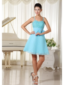 Spaghetti Straps Beaded Decorate Bowknot Aqua Blue With A-line Prom / Cocktail Dress