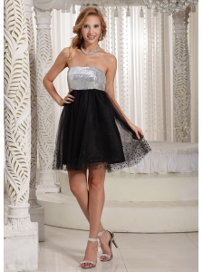 Special Fabric A-line Sequins Decorate Bust Strapless Online Black and Silver Prom / Cocktail Dress 2013