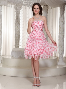 Strapless Beading Ruch Knee-length Printing Prom / Cocktail Dress
