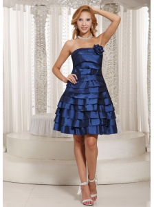 Stylish A-line Ruched Layered Bridesmaid Dress Navy Blue Taffeta
