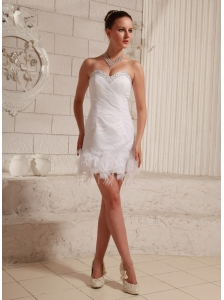 Sweetheart Beaded Feather Column Mini-length Club Short Wedding Dress Organza