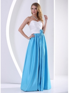 White and Aqua Blue Sweetheart Hand Made Flower and Ruch Bridesmaid Dress 2013 Taffeta