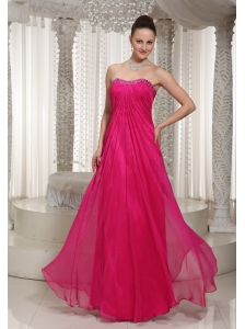 2013 Vintage Homecoming Dress With Strapless Hot Pink Beading