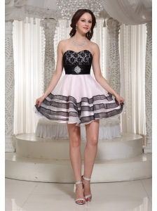 A-line Lace Bodice Sweetheart Prom / Cocktail Dress With Mini-length