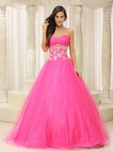 A-line Quinceanera Dress With Sweetheart and Appliques Decorate Waist Tulle In California