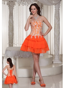 Appliques Decorate Orange Sweetheart Lace-up Prom / Cocktail Dress With Mini-length