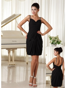 Beaded Decorate Straps Black Ruched Mini-length Homecoming Gowns