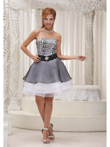 Beaded Decorate Waist Leopard and Organza Strapless Prom / Homecoming Dress For Formal Evening