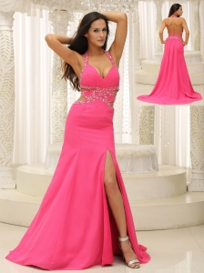 Brand New Halter Beaded Decorate Waist High Slit For Evening Dress In New York