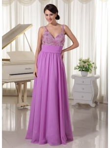Chiffon Spaghetti Straps Pretty Lavender Evening Party Dress Appliques With Beading