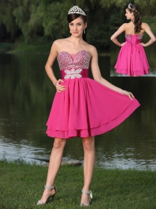 Custom Size Beaded Decorate Bust Hot Pink For Prom / Cocktail Party Dress