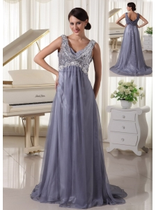 Grey Sequins V-neck Brush Train Evening / Prom Dress For Prom Party