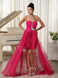 High-low Custom Made Evening Dress Beading Coral Red With Sequin