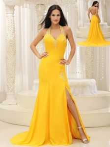 High Slit Halter Top Yellow Brush Train Evening Dress Chiffon In Oklahoma