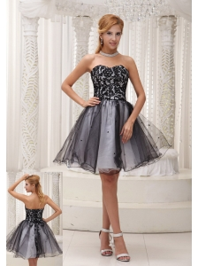 Lace Decorate Up Bodice Black and White Organza With Sequins Sweet Prom / Cocktail Dress For 2013