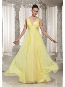 Light Yellow V-neck Chiffon Long Homecoming Dress 2013 Party Style