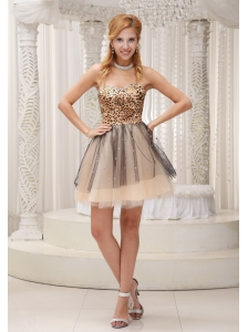 Lovely Leopard and Tulle 2013 Prom / Cocktail Dress For Party Beaded Decorate Sweetheart Neckline Mini-length