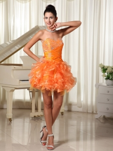 Mini-length Sweetheart Orange Cocktail Dress With Bust Beading and Ruffles