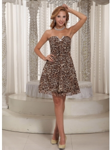 Multi-color Leopard A-line V-neck Mini-length Customize Cocktail Dress For Summer