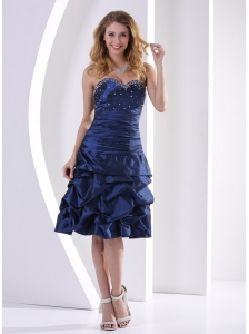 Navy Blue Sweetheart Beaded and Pick-ups 2013 Prom / Homecoming Dress Knee-length