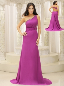One Shoulder Beaded Decorate Waist Brush Train Chiffon Fuchsia For Evening Dress