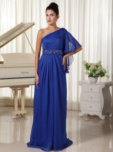 One Shoulder With 1/2-length Sleeve Beaded Decorate Waist Royal Blue Mother Of The Bride Dress