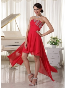 Red Chiffon High-low Homcoming / Cocktail Dress With Beading Decorate Strapless and Ruch