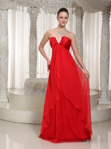 Red V-neck Chiffon Homecoming Dress With Empire