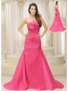 Rose Pink A-line and Bowknot For Mother Of The Bride Dress Ruched Bodice Custom Made Satin