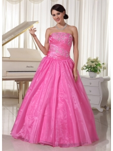 Rose Pink Embroidery With Beading Quinceanera Dress With Ruch A-line Taffeta and Organza