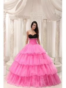 Rose Pink Sweetheart Beaded and Layers Ball Gown Quinceanera Dress Taffeta and Organza