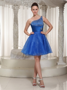 Royal Blue Organza One Shoulder Beaded Bodice Homecoming Dress For Party